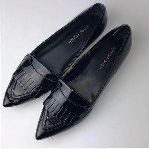 Marc Fisher | Black fringe pointed flat size 6.5